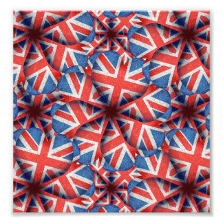 Heart Shaped England Flag Pattern Design Photo Print