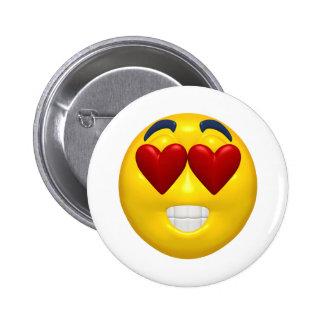 heart shaped eyes smiley 6 cm round badge
