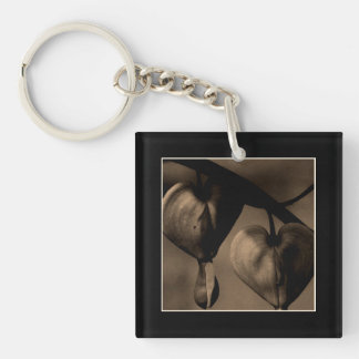 Heart-Shaped Floral Portrait Fine Art Photograph Single-Sided Square Acrylic Key Ring
