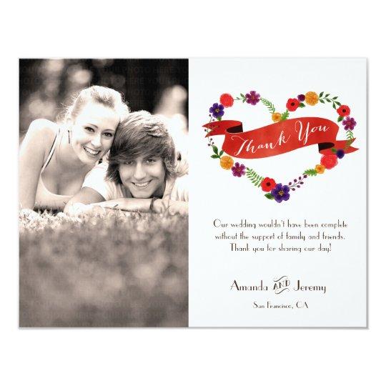 Heart-Shaped Flower Wreath Rustic Wedding Card