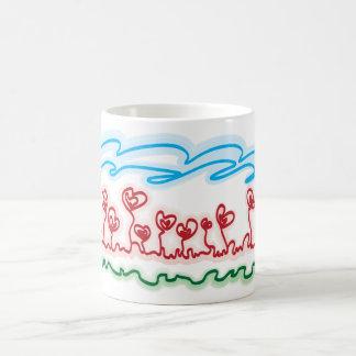 heart shaped flowers tea cup classic white coffee mug