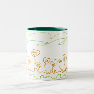 heart shaped flowers Two-Tone mug