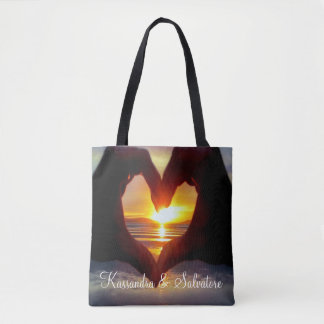 Heart Shaped Hands In The Sun Personalized Tote