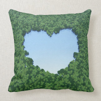 Heart-Shaped Lake Throw Pillow