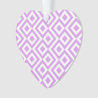 Heart-Shaped Lavender and White Meander Ornament