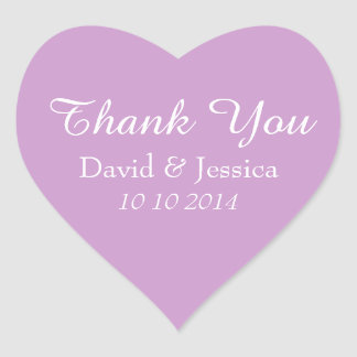 Heart shaped lavender wedding thank you stickers
