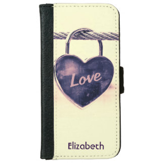 Heart Shaped Love Padlock Personalized iPhone 6 Wallet Case