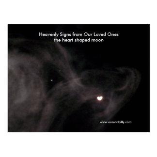Heart shaped moon post card.. postcard