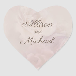 Heart Shaped Muted Rose Stickers - Muted Roses