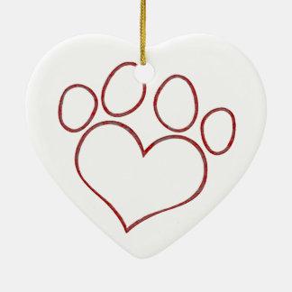 Heart Shaped Paw Print Dog Cat Puppy Kitten Ceramic Ornament