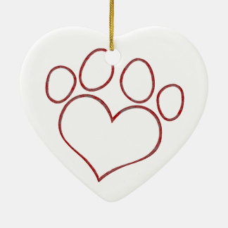 Heart Shaped Paw Print Dog Cat Puppy Kitten Double-Sided Heart Ceramic Christmas Ornament