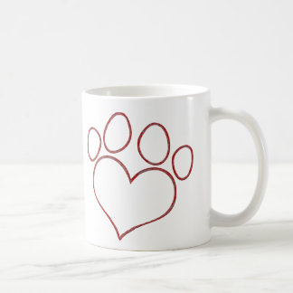 Heart Shaped Paw Print Dog Cat Puppy Kitten Basic White Mug
