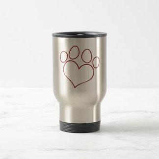 Heart Shaped Paw Print Dog Cat Puppy Kitten Travel Mug