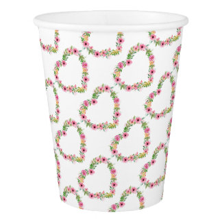 Heart Shaped Pink Floral Wreath Paper Cup