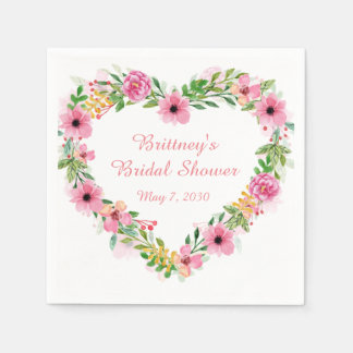Heart Shaped Pink Floral Wreath Paper Napkins