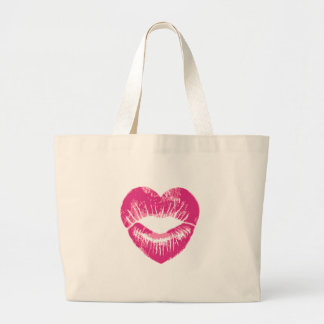 Heart shaped pink lips lipstick traces kissess tote bags