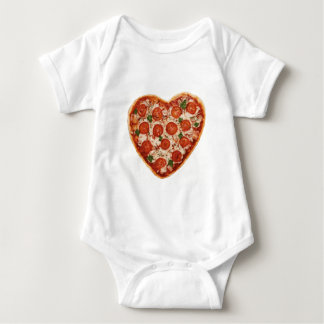 heart shaped pizza baby bodysuit