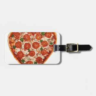 heart shaped pizza luggage tag