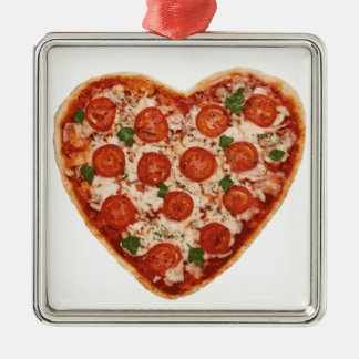 heart shaped pizza Silver-Colored square decoration