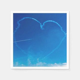 Heart-shaped plane trails paper serviettes