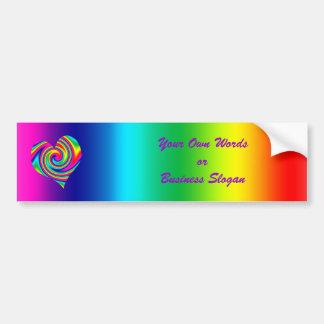 Heart Shaped Rainbow Twirl Car Bumper Sticker