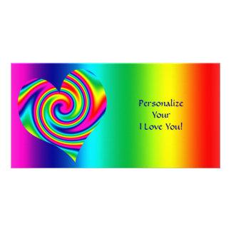 Heart Shaped Rainbow Twirl Customized Photo Card
