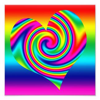 Heart Shaped Rainbow Twirl Photo Print