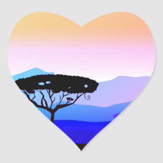 Heart shaped Safari tree Heart Sticker