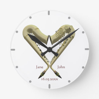 Heart Shaped Saxophones Wall Clock For Couples