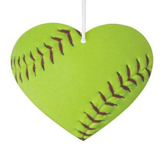 Heart shaped softball air freshener
