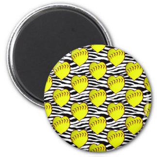 Heart Shaped Softballs On Zebra Pattern 6 Cm Round Magnet