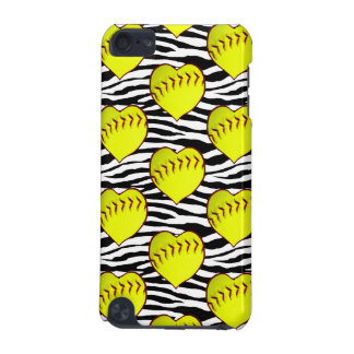 Heart Shaped Softballs On Zebra Pattern iPod Touch (5th Generation) Case