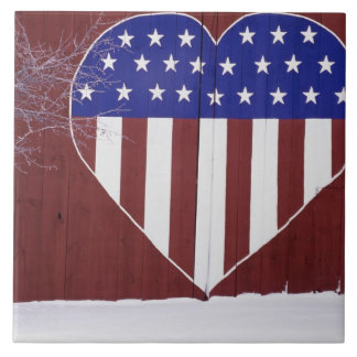 Heart-Shaped Stars and Stripes Large Square Tile