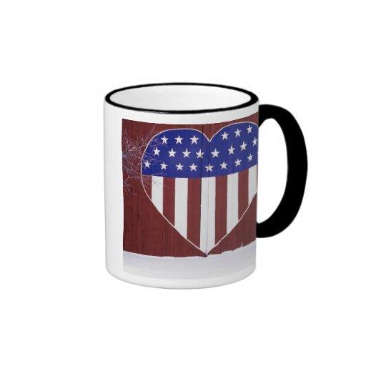 Heart-Shaped Stars and Stripes Mug
