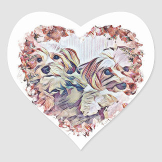 Heart shaped sticker of Penny & Copper