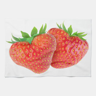 Heart shaped strawberries hand towels