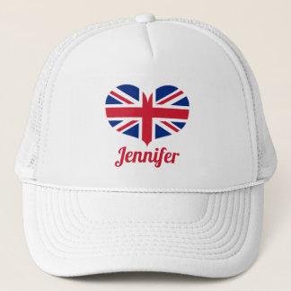 Heart Shaped UK Flag / Union Jack Personalized Trucker Hat