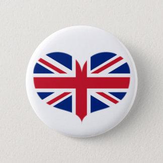 Heart Shaped United Kingdom Flag / Union Jack 6 Cm Round Badge