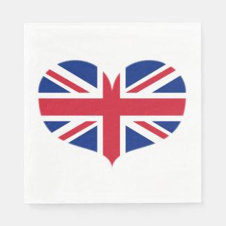Heart Shaped United Kingdom Flag / Union Jack Disposable Napkin