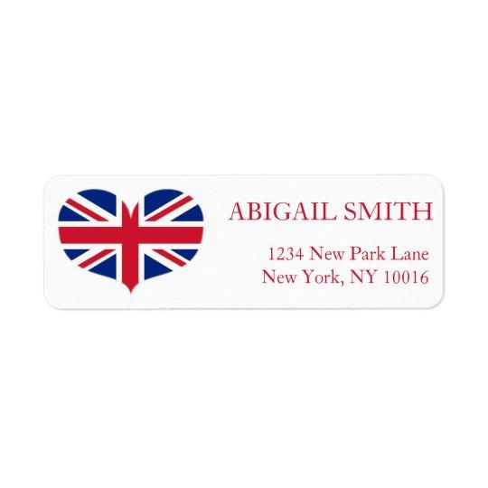 Heart Shaped United Kingdom Flag / Union Jack Return Address Label