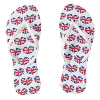 Heart Shaped United Kingdom Flag / Union Jack Thongs