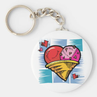 Heart Shaped V Day Ice Cream Key Chains