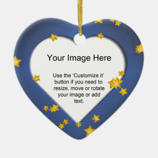 Heart-Shaped with Gold Stars on on Blue Template Ceramic Heart Decoration