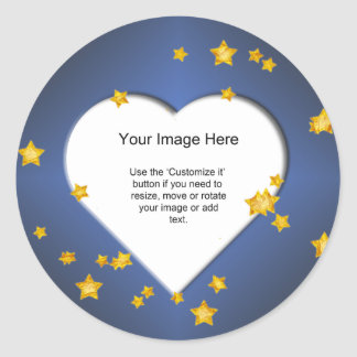 Heart-Shaped with Gold Stars on on Blue Template Round Sticker