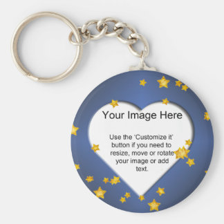 Heart-Shaped with Gold Stars Template Basic Round Button Key Ring