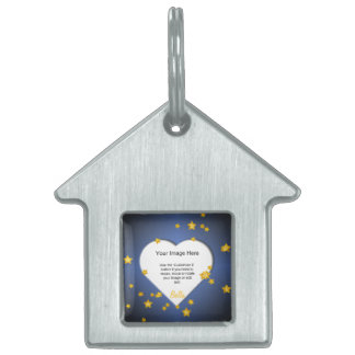 Heart-Shaped with Gold Stars Template Pet Tag