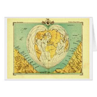 Heart Shaped World Map Blank Notecard