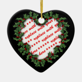 Heart Shaped Wreath Christmas Photo Frame Ceramic Heart Decoration