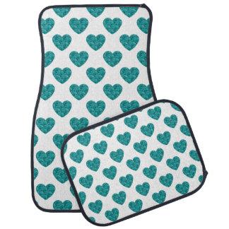 Heart Shapes Filled with Aqua Roses Floor Mat