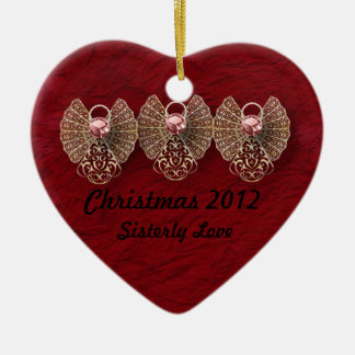 Heart Sisterly Love Personalized Ornament